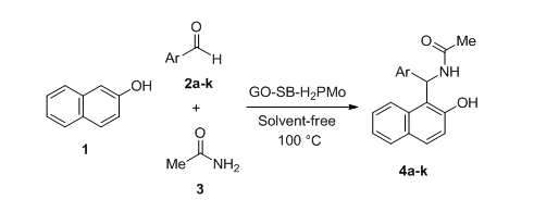 Catalytic evaluation of newly prepared GO-SB-H2PMo as an efficient and reusable nanocatalyst for the neat synthesis of amidoalkyl naphthols