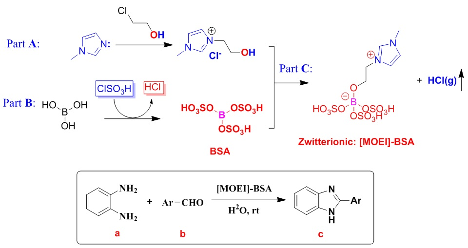 An efficient facile and one-pot synthesis of 2-arylsubstituted benzimidazole derivatives using 1-methyl-3-(2-oxyethyl)-1H-imidazol-3-ium-borate sulfonic acid as a recyclable and highly efficient ionic liquid catalyst at green condition