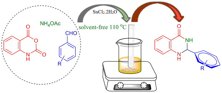 Multicomponent reaction for the synthesis of 2,3-dihydroquinazolin-4(1H)-ones using isatoic anhydride, aldehydes and NH4OAc under Solvent-free conditions